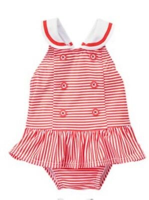 Gymboree Gazebo Party Red Striped One-Piece Sailor Swimsuit Baby Girls Nwt 6-12