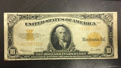 1922 Ten 10 Dollar Gold Certificate Large Note Speelman White Paper Currency