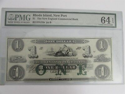 $1 New England Commercial Bank Rhode Island New Port PMG 64 Choice Uncirculated