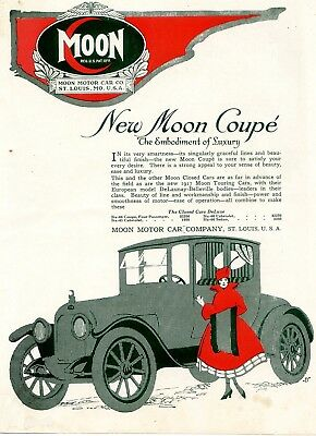 1917 Moon Coupé Car Closed Car Ad Moon Motor Company St. Louis Mo