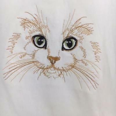 "Embroidered Cat White T Shirt Ladies Med SS 36"" Bust Mossimo Supply Co"