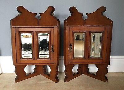 Pair Of Antique Victorian Small Wall Mounted Corner Cabinets Bathroom Mirrored