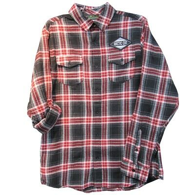 Arctic Cat Men's Slim Fit Midweight Cotton Plaid Flannel Shirt - Red - 5278-78_