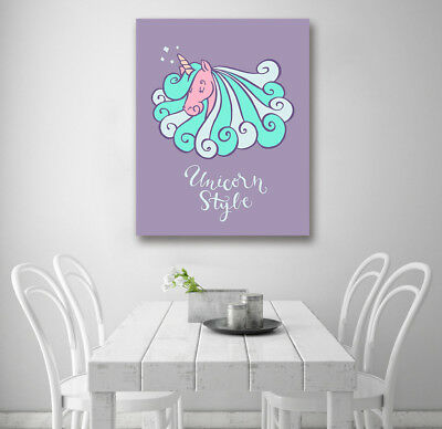 Cartoon Colored Unicorn Modern Art Poster Prints Wall Room Decor Canvas Painting
