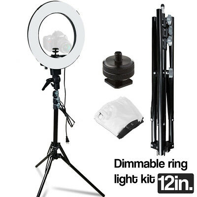 "Photo Studio Adjustable Dimmable 12"" Selfie Ring Light w/ Stand & Diffuser Cover"