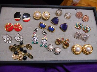 Vintage Lot Of 15 Pairs Of Clip Earrings,marvella,coro,lc,sc,japan,selro Style