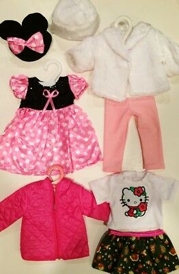 "Doll Clothes LOT Fits 18"" American Girl 4 Outfits New #34 C / Minnie Mouse, Coat"