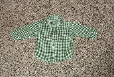 Crazy 8 Baby Boys Green White Check Shirt Long Sleeve Button 6-12 Months EUC