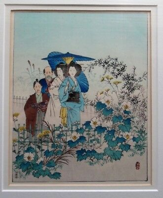 Vtg Yoshitoshi Japanese Viewing the Seven Flowers of Autumn Woodblock Print