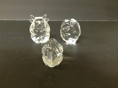 Original Lalique France Lot-signed-3 Diff. Smaller Animals-Bull, Owl, Frog-MINT