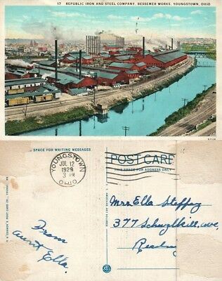 Youngstown Oh Republic Iron & Steel Co. Bessemer Works Antique Postcard