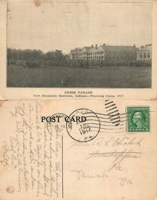 Fort Benjamin Harrison Indiana Training Camp 1917 Antique Postcard Dress Parade