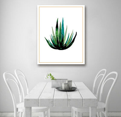 Watercolor Aloe Plant Modern Art Poster Prints Wall Room Decor Canvas Painting