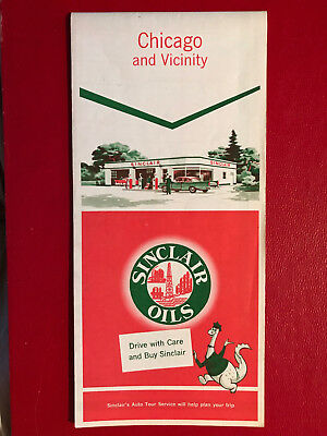 Sinclair Oils - Chicago and Vicinity Road Map - 1958