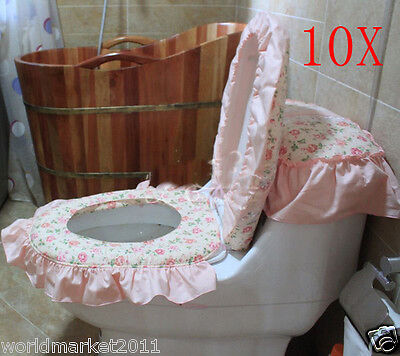 10X Lovely Practical Light Pink S44*37CM Cotton Fabric Three-Piece Toilet Covers