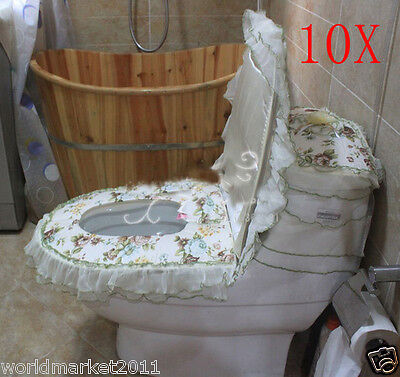 10X Lovely Style Practical Green S 45*32 CM Fabric Three-Piece Toilet Covers