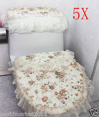 5X Rural Practical Yellow Peony Fabric S 43*35 CM Three-Piece Toilet Covers