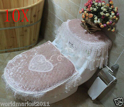 10X Lovely Style Practical Light Pink S45*36 CM Fabric Three-Piece Toilet Covers