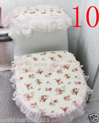 10X Rural Practical Red Fabric S 43*35CM Rose Pattern Three-Piece Toilet Covers