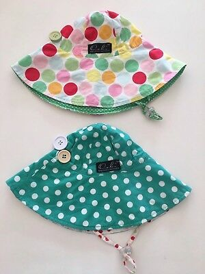 2 X Oobi Girls Hats, Size Small, Suit Baby To 3 Years Approx, Toggle,