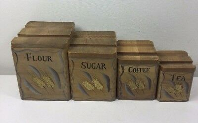 4 Vintage Painted Wooden Storage Jars Boxes - Graduating Flour Sugar Coffee Tea