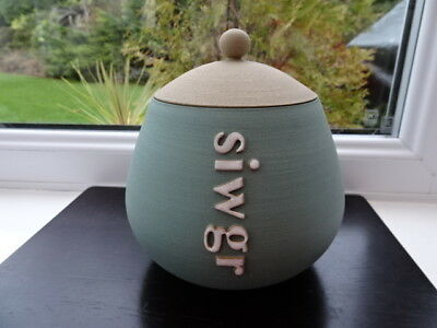 Glosters Porthmadog Handmade Lidded Siwgr (Sugar) Pot Duck Egg Signature Shape