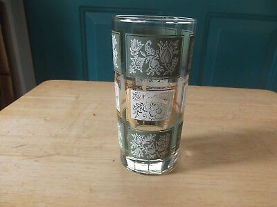 Vintage Libbey Glass 5 1/2-Inch High Iced Tea Glass w/ Green and White Squares