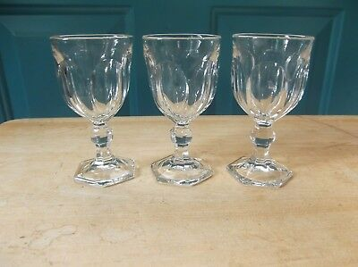 Three Small Vintage Clear Glass Wine or Liqueur Stemmed Glasses