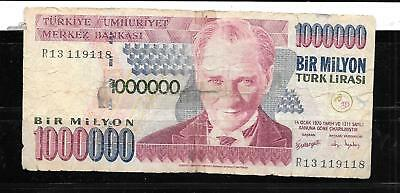 Turkey #213 2002 One Million Lira Ag Circulated Old Banknote Paper Money Note