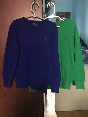 2 PC. POLO RALPH LAUREN Boys Green V-neck, Royal Blue Cotton Sweaters Size 7