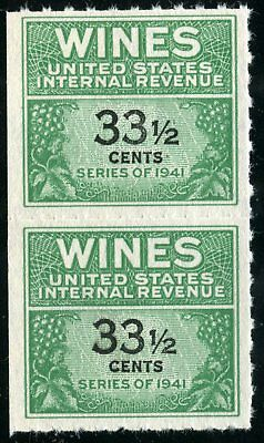 US Revenues Stamps Scott #RE-188 33 1/2 Cents (PAIR)WINES MNH NG Cat. @ $70