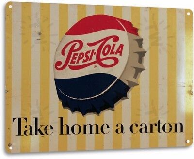 Pepsi Carton Vintage Retro Tin Metal Sign