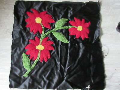 Antique Hooked Pillow Top Red Flowers on Black Satin