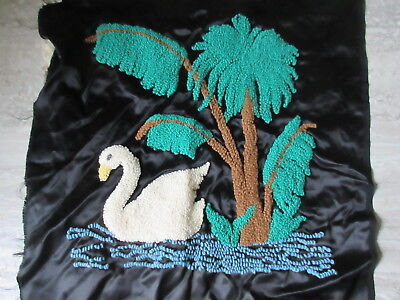 Antique Hooked Pillow Top White Swan & Trees on Black Satin