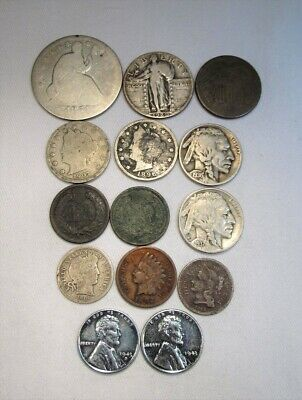 Vintage US Coin Lot 14pc Indian Steel Liberty Seated Silver Barber Standing C682