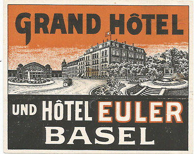GRAND HOTEL EULER luggage DECO label (BASEL)
