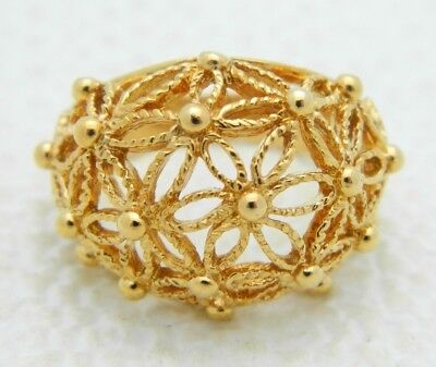 Vintage Avon Gold Tone Flower Filigree Dome Statement Ring Numerous Sizes