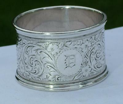 Lovely Antique Scroll Foliage Engraved Sterling Silver Napkin Serviette Ring