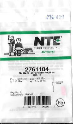 Nte Electronics 1N4005 Si Do-41 General Purpose Rectifier 600V Max Pack Of 2