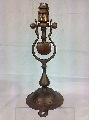 Antique Brass Ships Gimble Lamp, Maritime / Railway Pullman Table / Wall Lamp