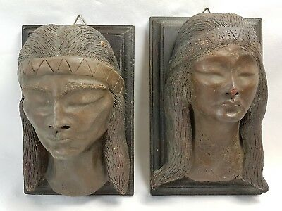 Pair Of Earthenware Native American Busts Masks Sculptures Signed Bronze Pottery