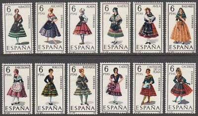 Spain, 1967 Provincial Costumes Set of 12. SG 1825-36 Unmounted Mint MNH
