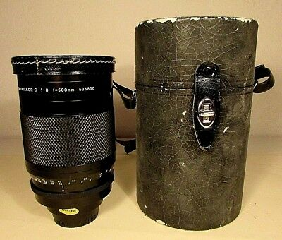 Nikon Reflex Nikkor-C f 8 500mm Camera Lens 536800 L37 89mm Filter Hard Case Cap