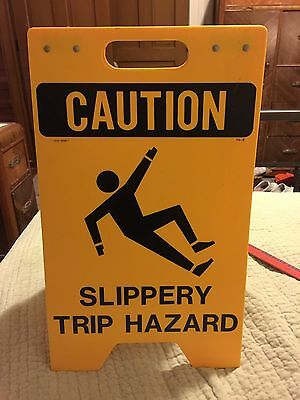 """Caution Sign """"Slippery Trip Hazard"""" Double-Sided Stand-up Display Commercial..."""