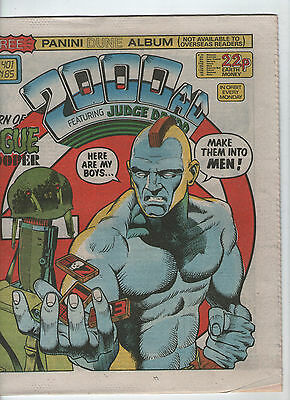 2000Ad Prog. # 401 + Free Gift-Dune Album & Stickers ( Scarce 1985 )