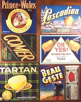 Crate Labels - Set Of 7 - Excellent Mix In Great Condition - Original Pieces