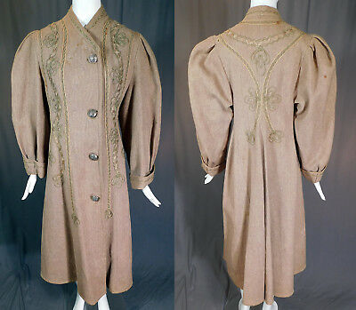 Victorian Womens Tweed Twill Worsted Wool Soutache Trim Heavy Winter Coat Vtg
