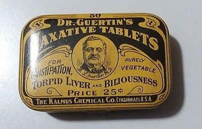 Vintage Original Dr. Guertin's Laxative Tablets Tin Container The Kalmus Chemica