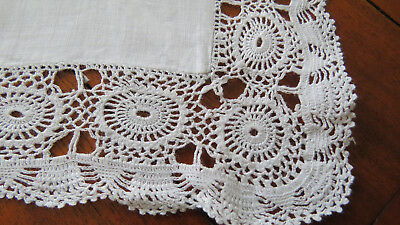 Vintage White Linen with Pretty Crochet Edge Table Topper - Supper Cloth