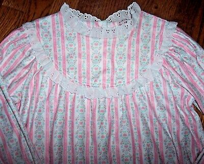 NWT Lanz of Salzburg PINK HEARTS Tyrolean Flannel Nightgown LACE M 7/8 Girls